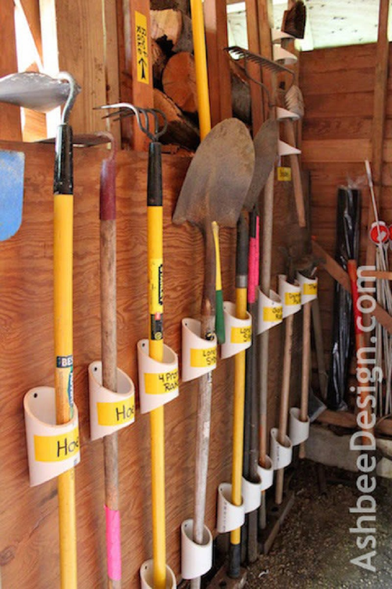 Pvc pipe to hold your gardening tools