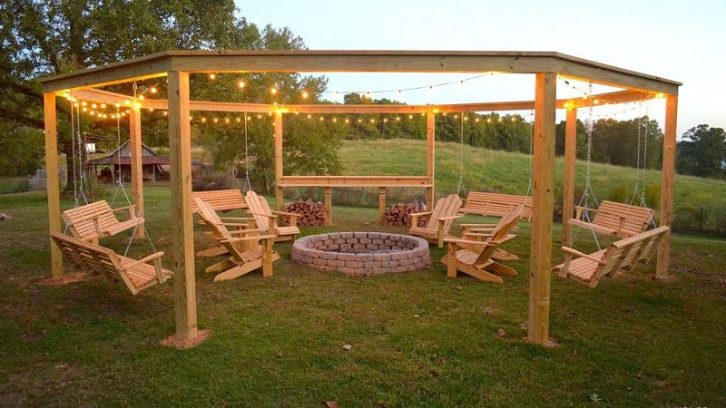 String around a pergola