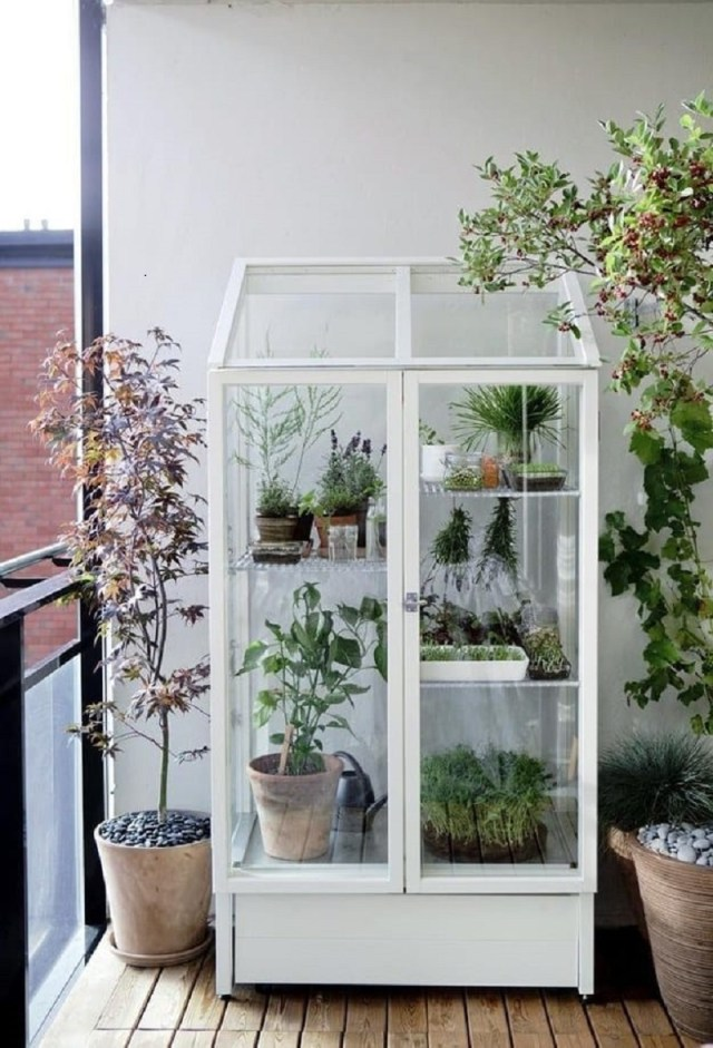 Pretty porch-sized greenhouse
