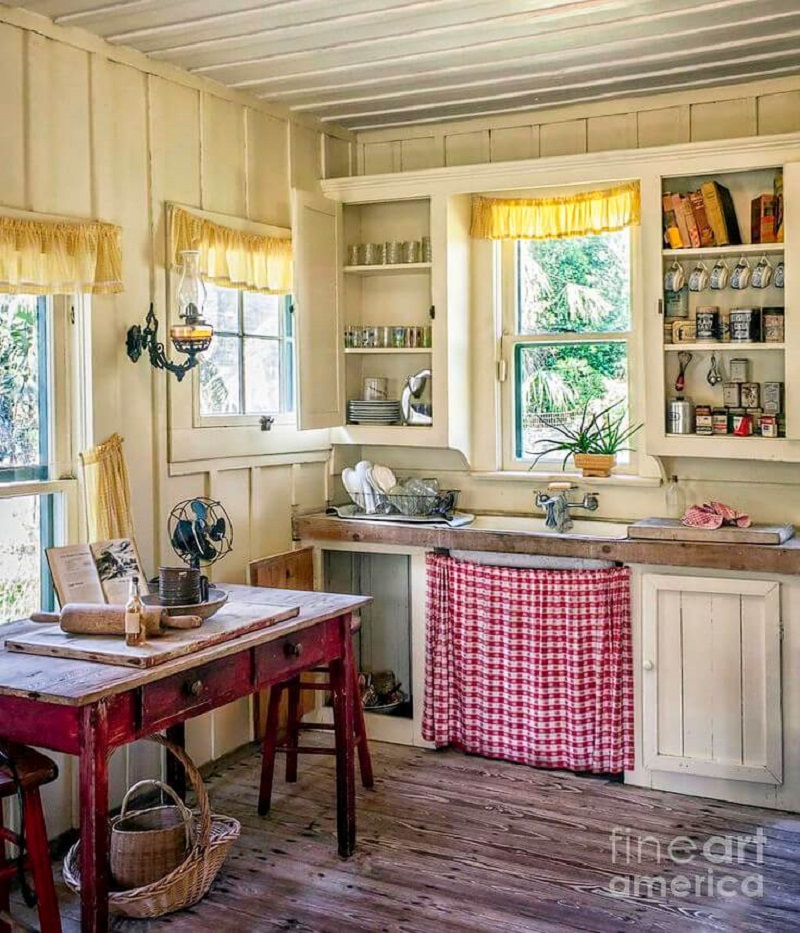 Country style gingham under-sink cabinet curtain