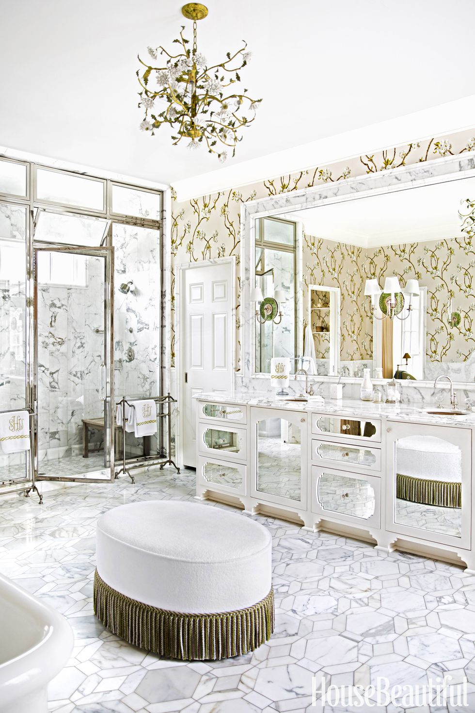 Glitzy bathroom chandelier
