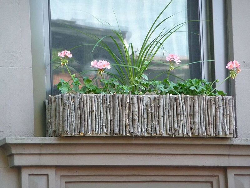 Natural twigs and branches window box