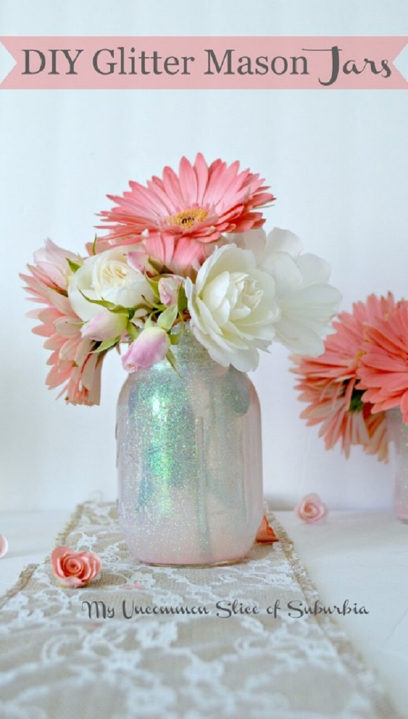 Fill mason jars with glitter