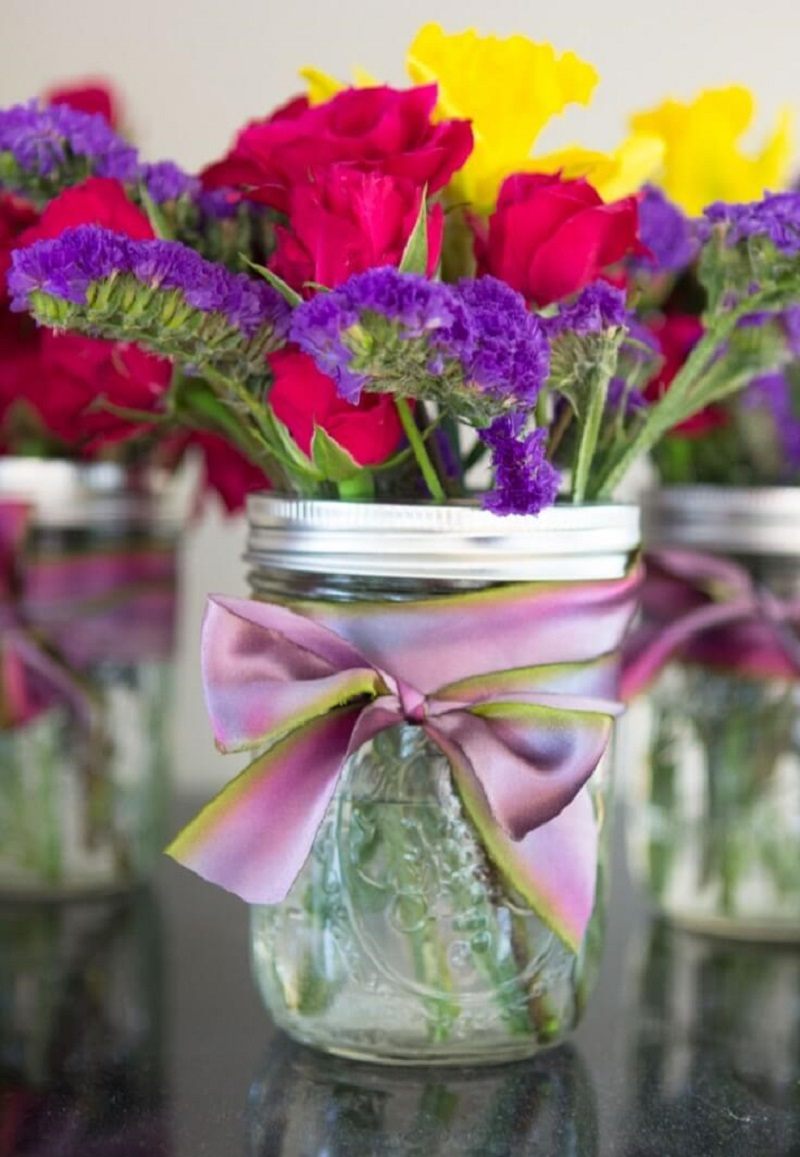 Mason jars with pretty ribbon