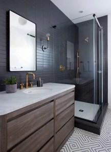 Elegant bathroom design with black walls 20