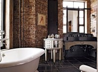Elegant bathroom design with black walls 36