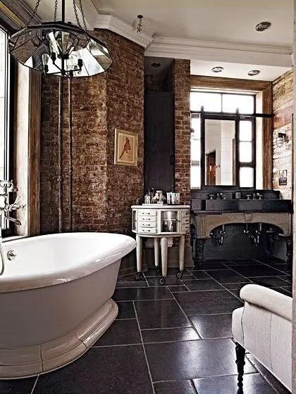 Elegant bathroom design with black walls 36