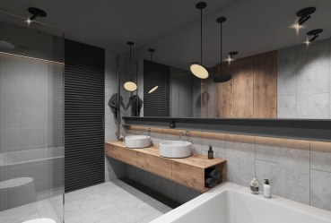 Elegant bathroom design with black walls 39