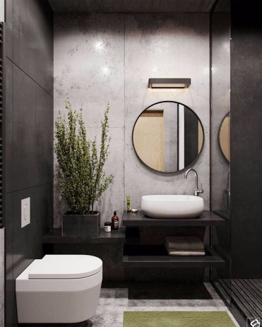 Elegant bathroom design with black walls 41