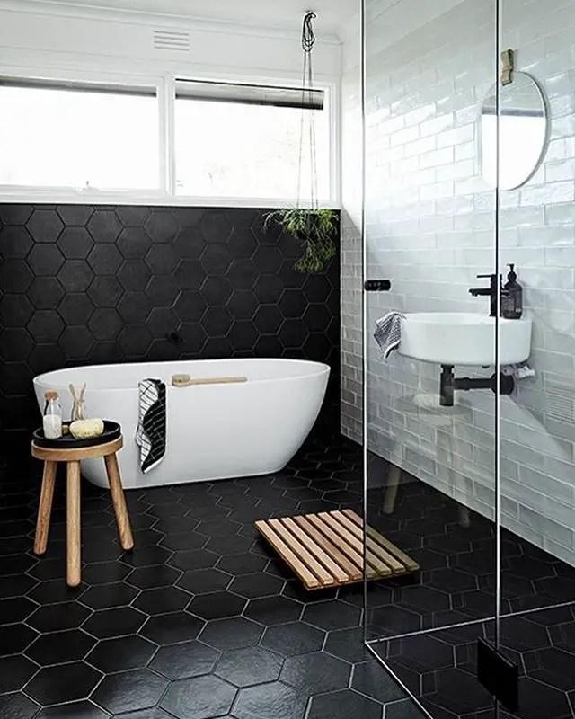 Elegant bathroom design with black walls 51