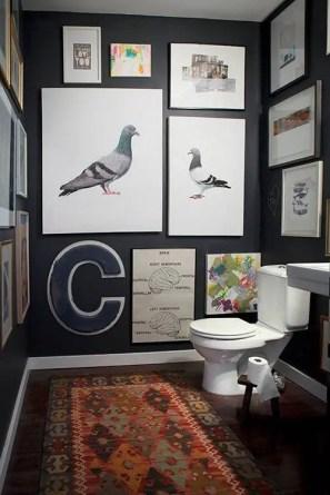 Elegant bathroom design with black walls 53