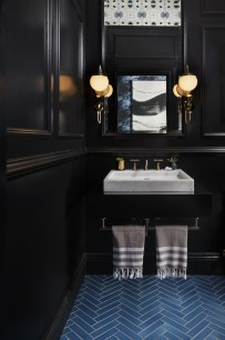 Elegant bathroom design with black walls 56