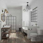 Rustic farmhouse bathroom ideas with shower 25