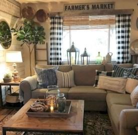 Rustic modern farmhouse living room decor ideas 102