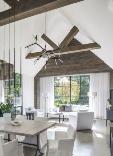 Rustic modern farmhouse living room decor ideas 118
