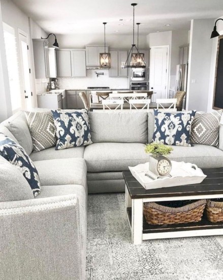 Rustic modern farmhouse living room decor ideas 12
