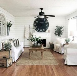 Rustic modern farmhouse living room decor ideas 121