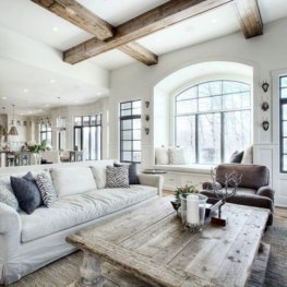 Rustic modern farmhouse living room decor ideas 22
