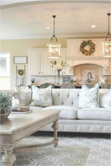 Rustic modern farmhouse living room decor ideas 23
