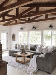 Rustic modern farmhouse living room decor ideas 34