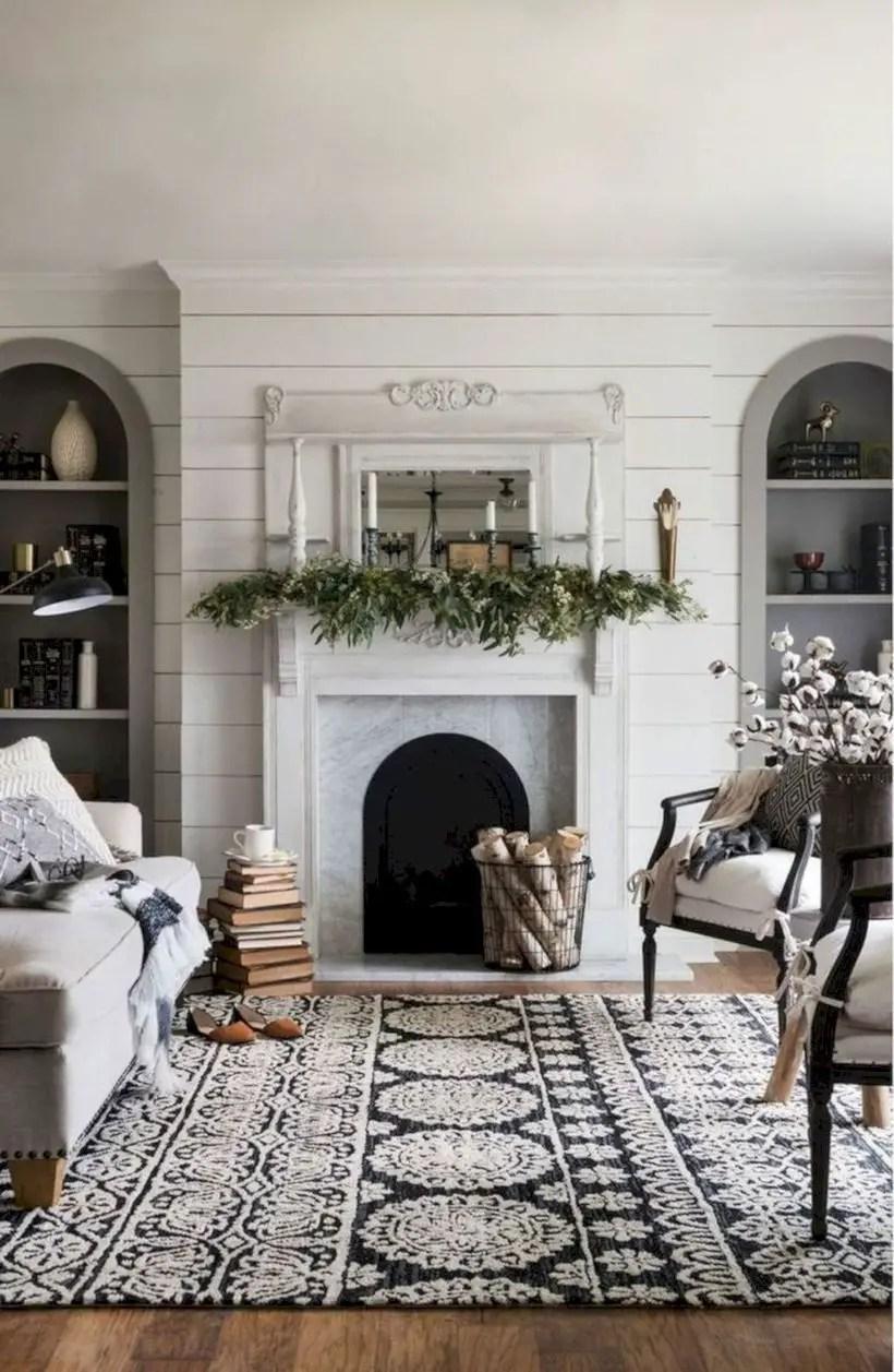 Rustic modern farmhouse living room decor ideas 38