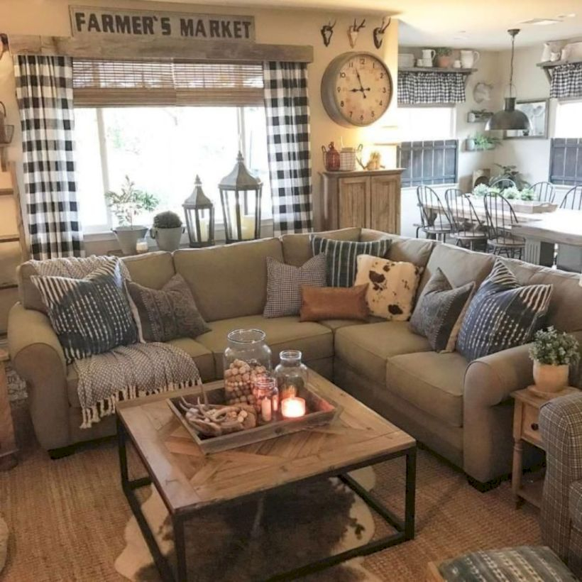 Rustic modern farmhouse living room decor ideas 45
