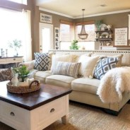 Rustic modern farmhouse living room decor ideas 47