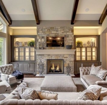 Rustic modern farmhouse living room decor ideas 49