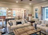 Rustic modern farmhouse living room decor ideas 61