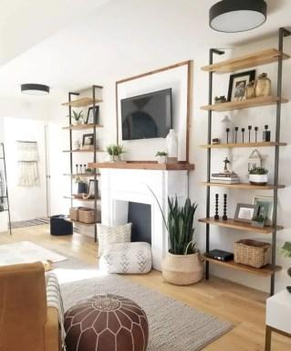 Rustic modern farmhouse living room decor ideas 87