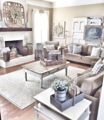 Rustic modern farmhouse living room decor ideas 97