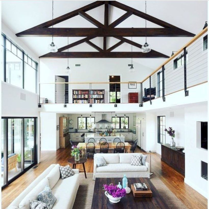 Rustic modern farmhouse living room decor ideas 98