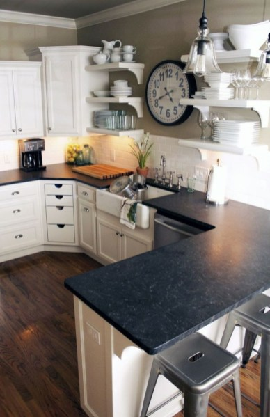 Stylist and elegant black and white kitchen ideas 28
