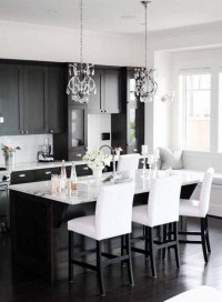 Stylist and elegant black and white kitchen ideas 40