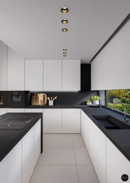 Stylist and elegant black and white kitchen ideas 44