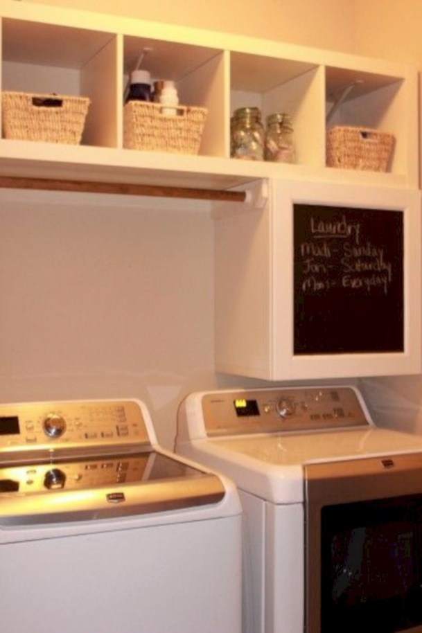 Laundry room storage shelves ideas to consider 16