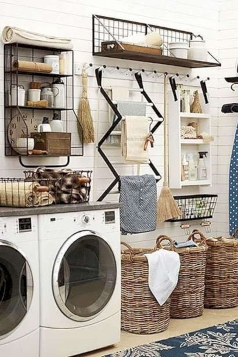 Laundry room storage shelves ideas to consider 20