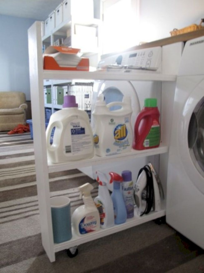 Laundry room storage shelves ideas to consider 46