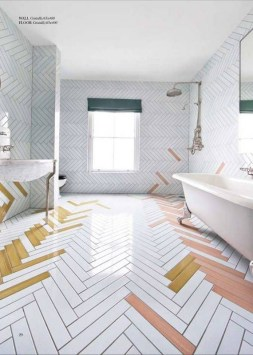 Stunning herringbone patterns for your bathroom wall 07