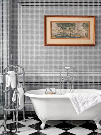 Stunning herringbone patterns for your bathroom wall 22