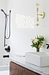 Stunning herringbone patterns for your bathroom wall 28