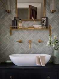 Stunning herringbone patterns for your bathroom wall 29