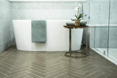 Stunning herringbone patterns for your bathroom wall 32