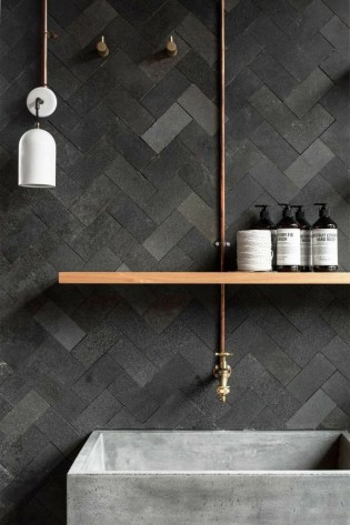 Stunning herringbone patterns for your bathroom wall 37