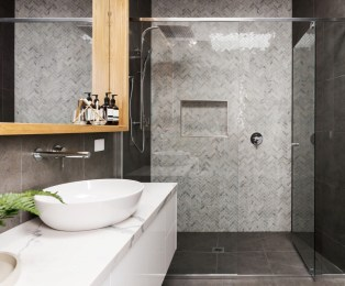 Stunning herringbone patterns for your bathroom wall 39
