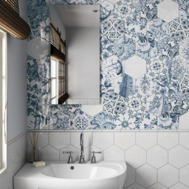 Unique honeycomb tile to give your bathroom a new look 28