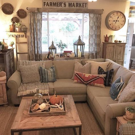 Awesome country farmhouse decor living room ideas 09