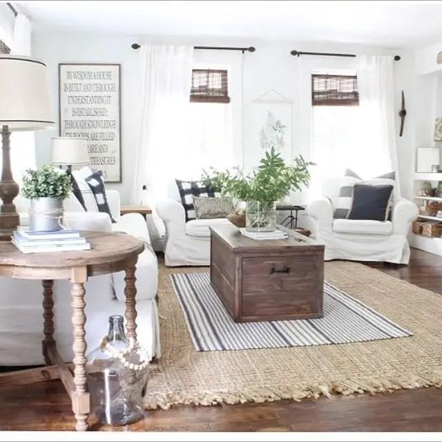 Awesome country farmhouse decor living room ideas 17