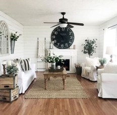 Awesome country farmhouse decor living room ideas 32