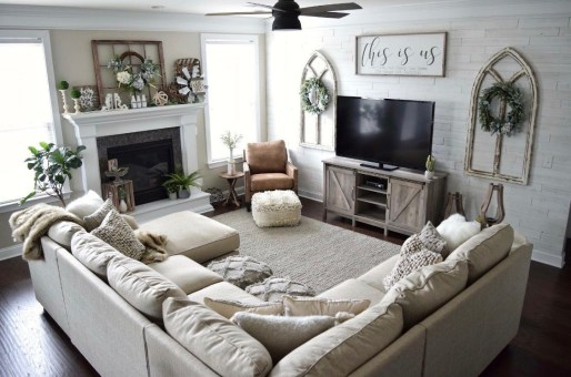 Awesome country farmhouse decor living room ideas 39